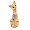 Gold Plated Kitty with Pink Crystal Flower Brooch - 60mm L