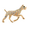 AB Crystal Bulldog Dog Brooch In Gold Plating - 40mm