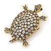 Vintage Inspired Clear Crystal Turtle Brooch In Antique Gold Tone Metal - 60mm L