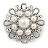 Vintage Inspired Bridal/ Wedding/ Prom Glass Pearl, Clear Crystal Flower Brooch In Silver Tone - 50mm D