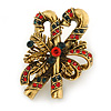Vintage Inspired Green/ Red Crystal Candy Cane Christmas Brooch In Antique Gold Tone Metal - 45mm L