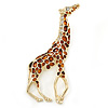 Gold Plated Brown Enamel, Clear Crystal Giraffe Brooch - 75mm L