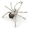 Black/ Grey/ Clear Crystal Spider Brooch In Rhodium Plated Metal - 60mm