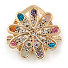 Gold Plated Multicoloured Crystal Open Flower Scarf Clip/ Brooch - 33mm D