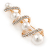 White Glass Pearl, Clear Crystal Spiral Fancy Brooch In Gold Tone - 60mm L
