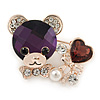 Purple/ Clear Crystal Bear with Heart Brooch In Gold Plating - 40mm W