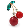 Red Resin Double Cherry Green Crystal Leaf Brooch In Gold Tone - 45mm L