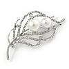 Silver Plated Clear Crystal Pearl Leaf Brooch - 75mm L