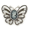 Vintage Inspired Grey Cameo Butterfly Brooch In Antique Silver Tone - 65mm W
