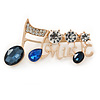 Gold Plated Clear/ Blue Crystal 'Music' Brooch - 55mm W