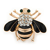 Small Black Enamel, Clear Crystal Bee Brooch In Gold Plating - 30mm