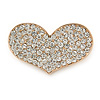 Gold Plated Pave Set Clear Crystal Heart Brooch - 47mm