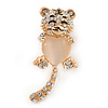 Cute Crystal Baby Tiger Brooch In Gold Plating - 45mm L