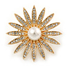 Gold Plated Clear Crystal Glass Pearl Flower Brooch - 40mm D