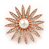 Clear Crystal Glass Pearl Flower Brooch In Rose Gold Tone Metal - 40mm D
