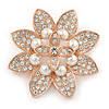 Bridal Crystal, Glass Pearl Flower Brooch In Rose Gold Tone - 55mm D