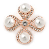 Vintage Inspired White Glass  Pearl Crystal Cross Brooch In Rose Gold Metal - 45mm