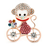 Gold Plated Multicoloured Crystal Monkey On The Bicycle Brooch - 40mm L