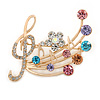 Gold Plated Multicoloured Crystal Musical Notes Brooch - 45mm L