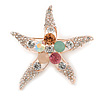 Crystal Starfish Brooch In Gold Tone Metal - 55mm L