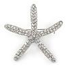 Clear Crystal Starfish Brooch In Silver Tone - 50mm