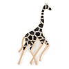 Gold Plated Black Enamel Clear Crystal Giraffe Brooch - 65mm L