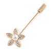 Gold Tone Clear Crystal White Pearl Daisy Flower Lapel, Hat, Suit, Tuxedo, Collar, Scarf, Coat Stick Brooch Pin - 55mm L