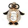 Gold Plated Clear Crystal, Black Enamel Penguin In The Glasses Brooch - 35mm L