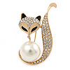 Gold Plated Clear Crystal with Glass Pearl Fox Brooch - 50mm