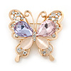 Multicoloured Crystal Butterfly Brooch In Gold Plating - 35mm L