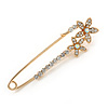 Medium Clear Crystal Double Flower Safety Pin In Gold Tone - 65mm L