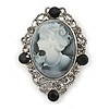 Vintage Inspired Crystal 'Lady' Grey Cameo Brooch/Pendant In Antique Silver Tone - 50mm L