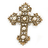 Victorian Style Clear Crystal, Glass Pearl Filigree Large Cross Brooch In Antique Gold Tone - 85mm L