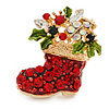 Crystal Christmas Stocking Brooch In Gold Plated Metal - 37mm L