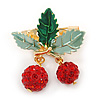 Holly Green Enamel Leaves and Dangling Red Crystal Berries Christmas Brooch In Gold Tone - 40mm L