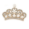 Gold Plated Clear Crystal, White Glass Pearl Crown Brooch - 55mm