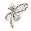 Clear Crystal, White Pearl Ribbon Brooch In Silver Tone - 65mm
