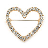 Gold Plated Clear Crystal Open Heart Brooch - 35mm