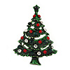Multicoloured Crystal Green Enamel Christmas Tree Brooch In Gold Plating - 45mm L