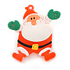 Flashing LED Blue and Red Lights Christmas Santa Rubber Brooch - 45mm