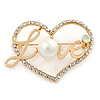 Gold Plated Clear Crystal, Pearl, Love Open Heart Brooch - 40mm
