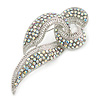 Statement AB Crystal Ribbon Brooch In Silver Tone Metal - 70mm
