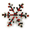 Vintage Inspired Green/ Ab/ Red Crystals Christmas Snowflake Brooch In Antique Gold Tone - 40mm