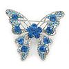 Dazzling Sky Blue Austrian Crystal Butterfly Brooch In Rhodium Plating - 60mm W