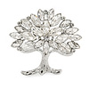 Clear Crystal Tree Of Life Brooch In Rhodium Plating - 45mm
