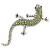 Light Green/ AB Crystal Lizard Brooch In Silver Tone Metal - 65mm L
