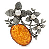 Vintage Inspired Amber Style Stone with Pearl Flowers Pewter Tone Brooch/ Pendant - 70mm