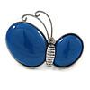 Royal Blue Ceramic Asymmetric Butterfly Brooch/ Pendant In Antique Silver Tone Metal - 65mm