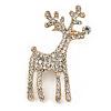 Clear Crystal Christmas Reindeer Brooch In Gold Plating - 45mm
