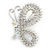 Exquisite AB/ Clear Crystal, White Faux Pearl Butterfly Brooch In Silver Tone - 50mm